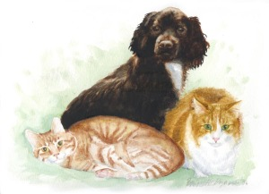watercolor of a dog and two cats