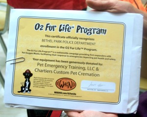o2 fur life certificate presented to bethel park